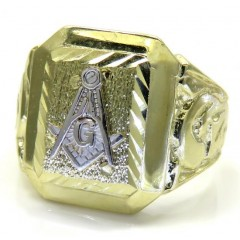 10k Two Tone Gold Diamond Cut Free Mason G Ring