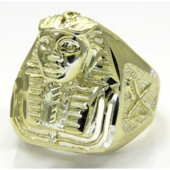 10k Yellow Gold Medium King Tut Pharaoh Head Ring