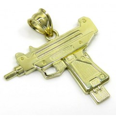 10k Yellow Gold Small Uzi Pistol Pendant
