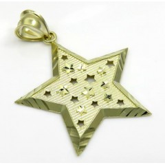 10k Yellow Gold Medium Diamond Cut Star Pendant