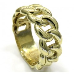10k Yellow Gold Smooth 9.50mm Cuban Ring