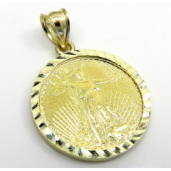 10k Yellow Gold Small Diamond Cut Lady Liberty 1/4 Oz Coin Pendant