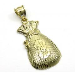 10k Yellow Gold Diamond Cut Medium Money Bag Pendant