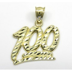 10k Yellow Gold Diamond Cut Medium One Hundred Pendant