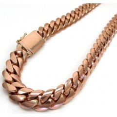 14k Rose Gold Solid Miami Link Chain 21 Inch 12.50mm