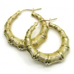 10k Yellow Gold Hollow Medium Bamboo Hoops