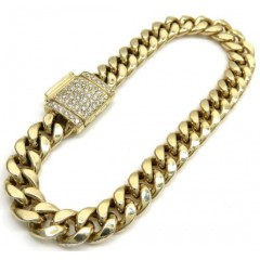10k Yellow Gold Diamond Lock Hollow Puffed Miami Bracelet 8