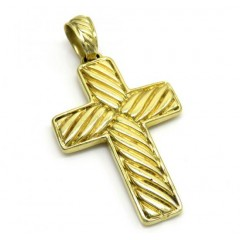 18k Yellow Gold Solid Textured Rope Cross Pendant