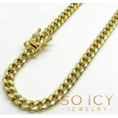 14k Yellow Gold Hollow Miami Cuban Link Chain 20-24