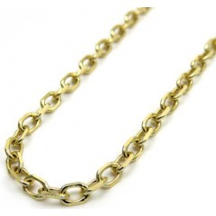 14k Yellow Gold Solid Cable Open Link Chain 18-26 Inch 3mm