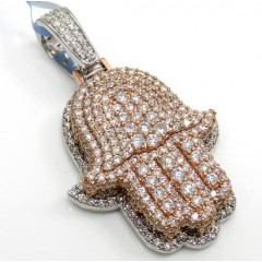 14k Two Tone Gold Vs Diamond Double Layered Hamsa Pendant 2.23ct