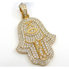 14k Yellow Gold Vs Diamond Egyptian Hamsa Pendant 3.02ct