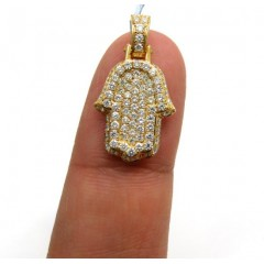 14k Yellow Gold Small Vs Diamond Hamsa Pendant 1.05ct
