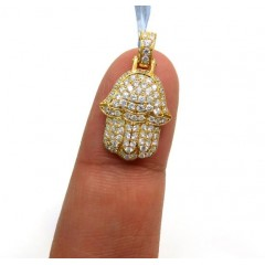14k Yellow Gold Small Vs Diamond Hamsa Pendant 0.94ct