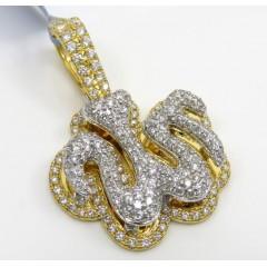 14k Two Tone Gold Vs Diamond Double Layered Allah Pendant 1.65ct