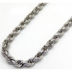 14k White Gold Solid Diamond Cut Rope Chain 20-26 Inch 3.5mm
