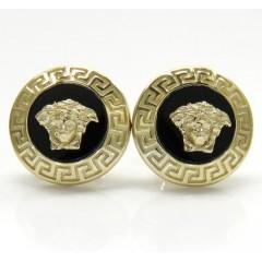 14k Yellow Gold Round Onyx Medusa Head Earrings