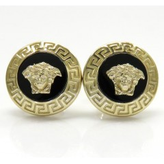 14k Yellow Gold Round Onyx Medusa Head Earrings