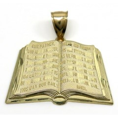 10k Yellow Gold Medium Holy Bible Book Pendant