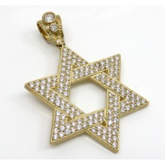 10k Yellow Gold Large Jewish Star Of David Pendant 6.25ct
