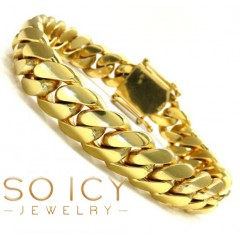 14k Yellow Gold Solid Thick Miami Bracelet 8.50 Inches 13mm