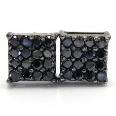 14k Black Gold 4x4 Square Black Diamond Earrings 0.65ct