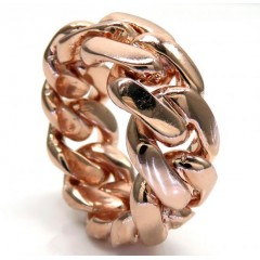 18k Rose Gold 12mm Solid Miami Cuban Link Ring