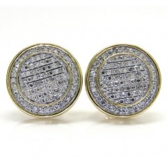 10k Yellow Or White Gold Diamond Double Layered Snow Cap Earrings 0.53ct