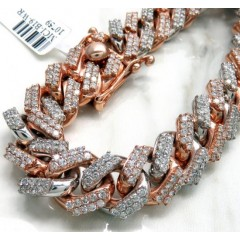 14k Two Tone Solid White & Rose Gold Thick Diamond Miami Bracelet 8.50 Inch 12mm 9.25ct