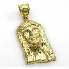 10k Yellow Gold Small Solid Back Jesus Face Pendant