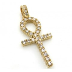14k Yellow Gold Vs Diamond Medium Ankh Cross 1.60ct