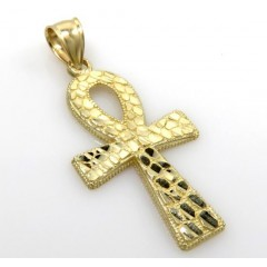 10k Yellow Gold Medium Nugget Ankh Cross