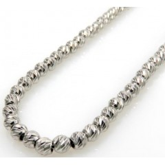 14k White Gold Diamond Cut Bead Chain 16-24 Inch 3mm