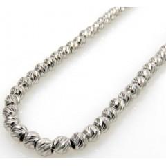 14k White Gold Diamond Cut Bead Chain 16-24 Inch 3mm