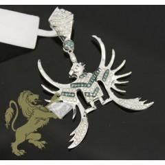 1.00ct 14k White Gold Diamond blue Firebird Pendant