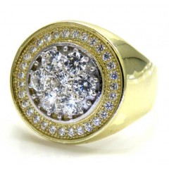 Mens 10k Yellow Gold Cz Cluster Double Circle Ring 1.80ct