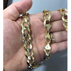 14k Yellow Gold Solid Cuban Link Chain 24 Inch 14mm