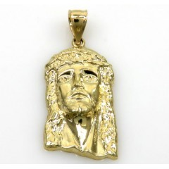 10k Yellow Gold Small Classic Jesus Face Pendant