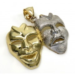 10k Two Tone Gold Medium Laugh Now Cry Later Pendant
