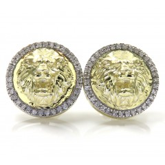 10k Yellow Gold Lion Diamond Halo Earrings 0.16ct