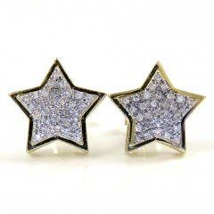 10k Yellow Gold Diamond Layered Star Earrings 0.15ct