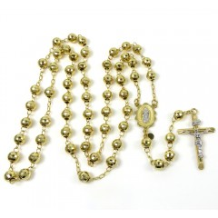 10k Yellow Gold Disco Ball Bead Rosary Chain 26 Inch 6mm