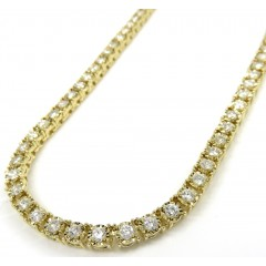 14k Yellow Gold Round 5  Pointer Diamond Illusion Tennis Chain 3.70mm 6.50ct 16-26