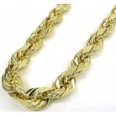 10k Yellow Gold Solid Diamond Cut Rope Chain 22-26 Inches 8mm
