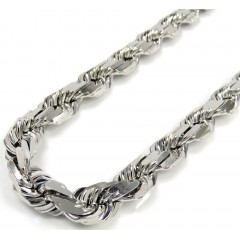 10k White Gold Solid Diamond Cut Rope Chain 22-30 Inches 7.50mm
