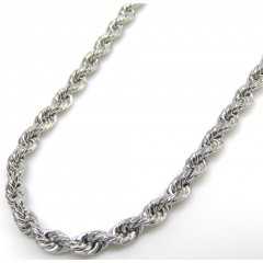 10k White Gold Smooth Cut Link Rope Chain 16-20 Inch 2mm