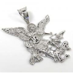 14k White Gold Solid Back Angel Vs Demon Large Pendant