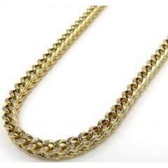 10k Yellow Gold Hollow Diamond Cut Franco Chain 18-24 Inch 3mm