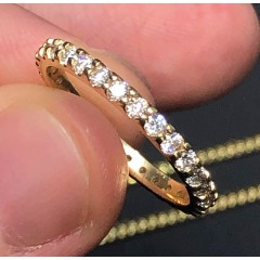 14k Yellow Gold Single Row Eternity Diamond Wedding Band 1.00ct
