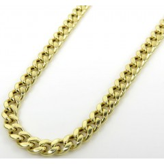 14k Yellow Gold Hollow Miami Cuban Link Chain 18-24 Inches 3.50mm